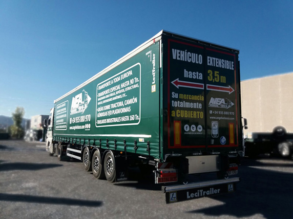 Large goods transports. Trailers up to 13,60 m and extendible to 3.50 m